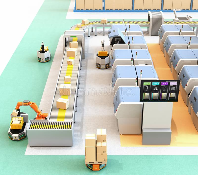 Smart factory with AGV, robot carrier, 3D printers and robotic picking system royalty free illustration