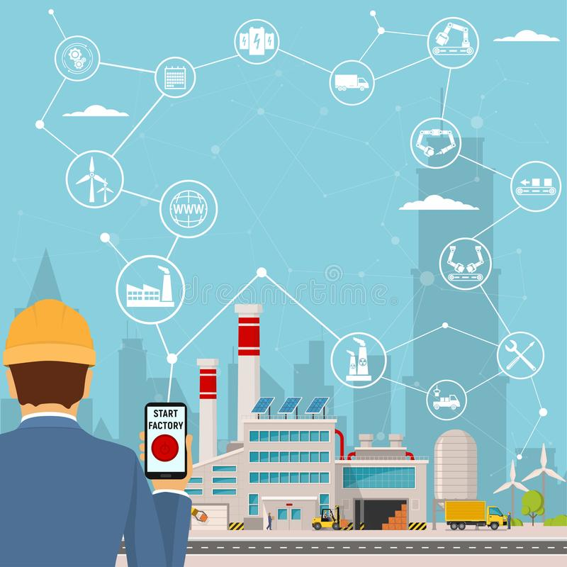 Smart factory and around it icons Engineer starting a smart plant. Smart factory or industrial internet of things. Background vector illustration vector illustration