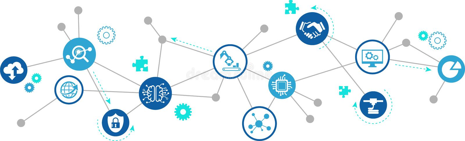 Smart factory, smart industry, iot concept: big data / cloud solutions / innovative production / simulation. Abstract concept in blue/grey color with royalty free illustration