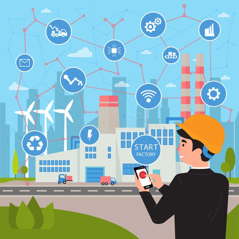 Smart factory concept. Businessman manages plant. Smart factory. Internet of things and big data concept. Businessman with phone in his hands starts and manage royalty free illustration