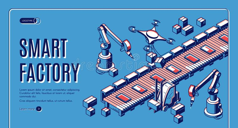 Smart factory automation isometric web banner. Smart factory isometric web banner. Smart robots hands work on assemble line, drones take production from conveyor stock illustration