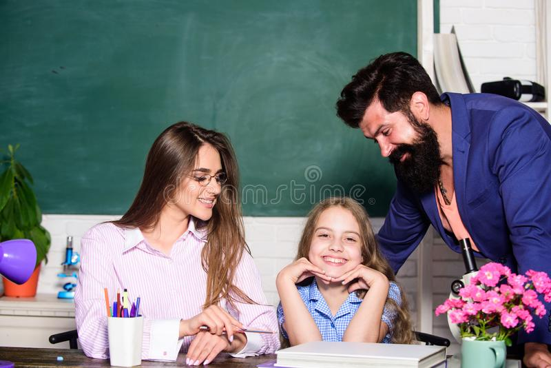 Smart family. Teaching daughter. Favorable conditions for learning. Good learning environment. Learners must feel royalty free stock image