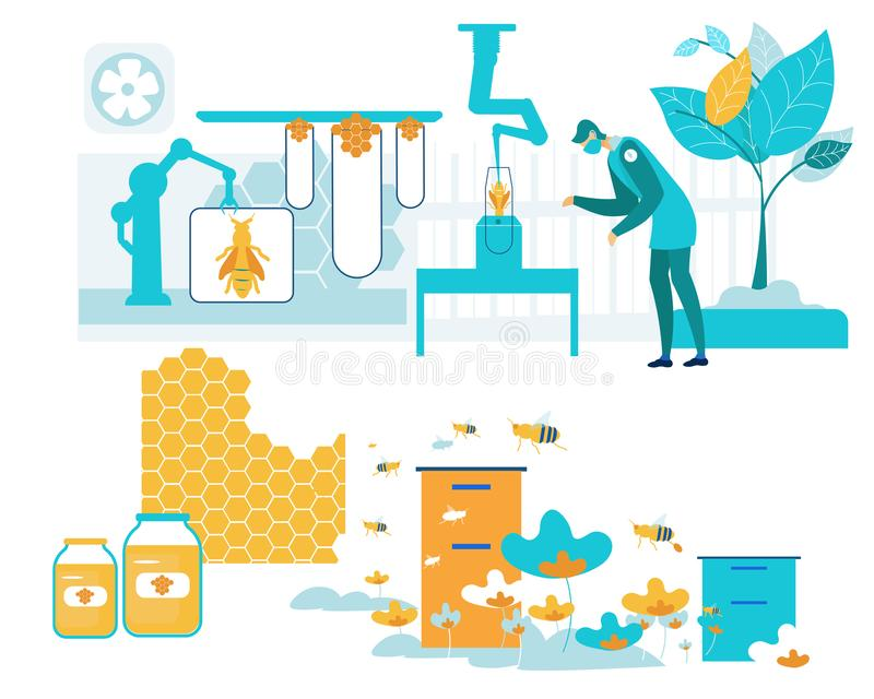 Smart Farm Apiary with Bees Vector Illustration. royalty free illustration