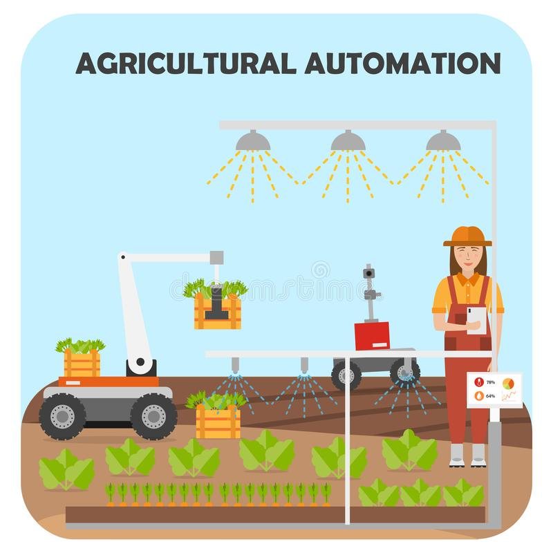 Smart farm flat background. Agricultural automation and robotics vector illustration