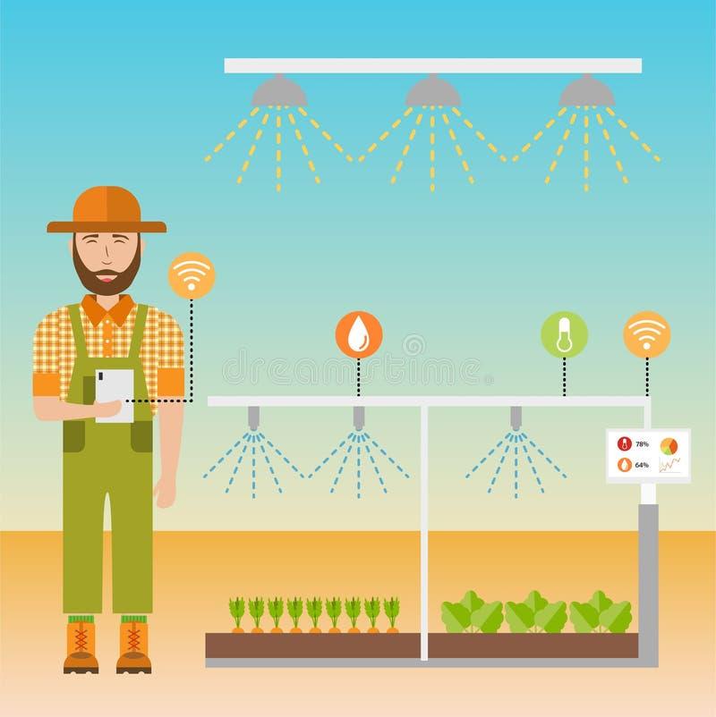 Smart farm flat background vector illustration