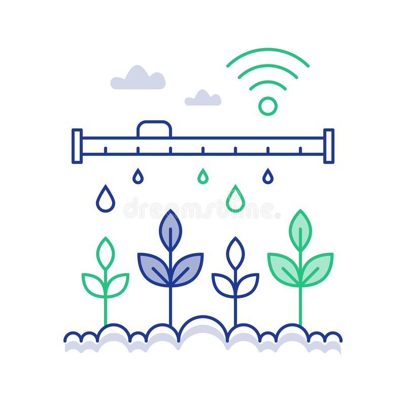 Plant stem automated watering, smart farm technology and innovation, distant control solution, dropping tube royalty free illustration