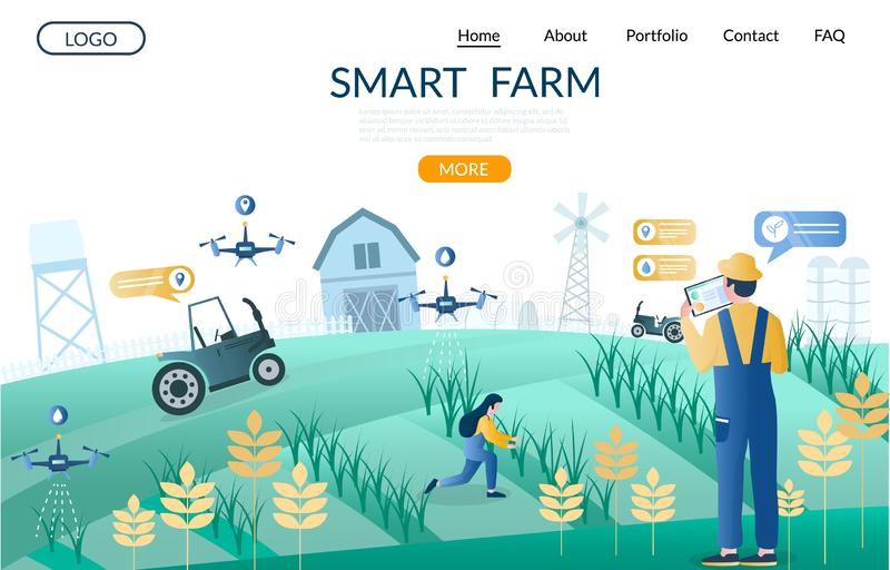 Smart farm vector website landing page design template royalty free illustration