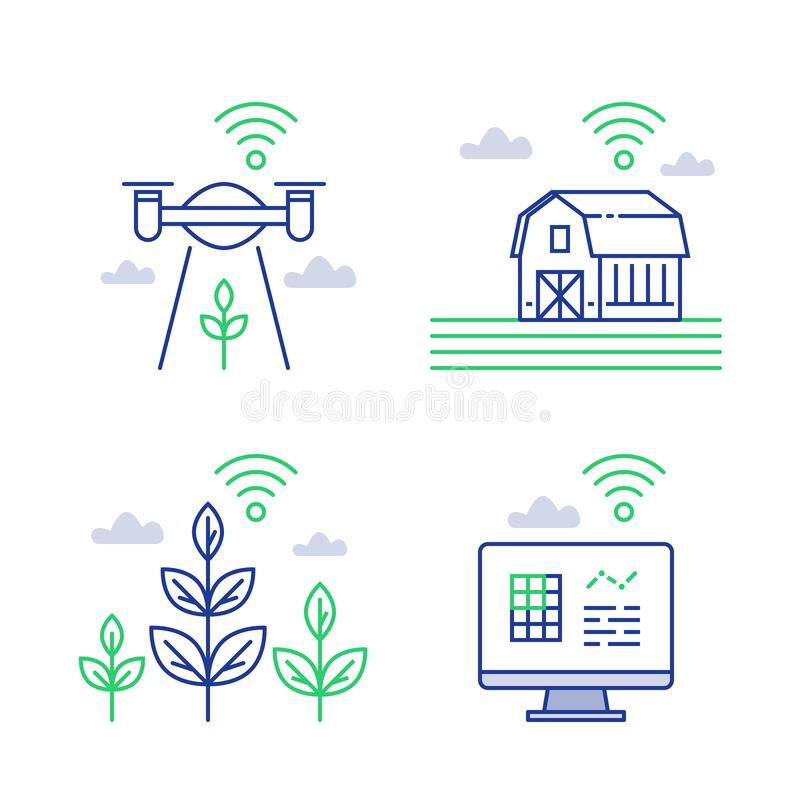 Smart farming, agricultural innovation, distant management, collecting data with drone, wireless technology, automated processes vector illustration