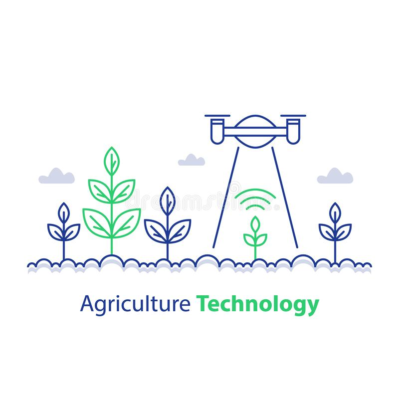 Smart farming, agriculture technology, plant stem and flying drone, innovation concept, automation solution, growth control. Agriculture technology, smart stock illustration