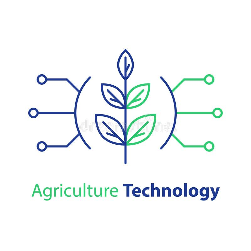 Smart farming, agriculture technology, plant stem, innovation concept, automation solution, growth control vector illustration