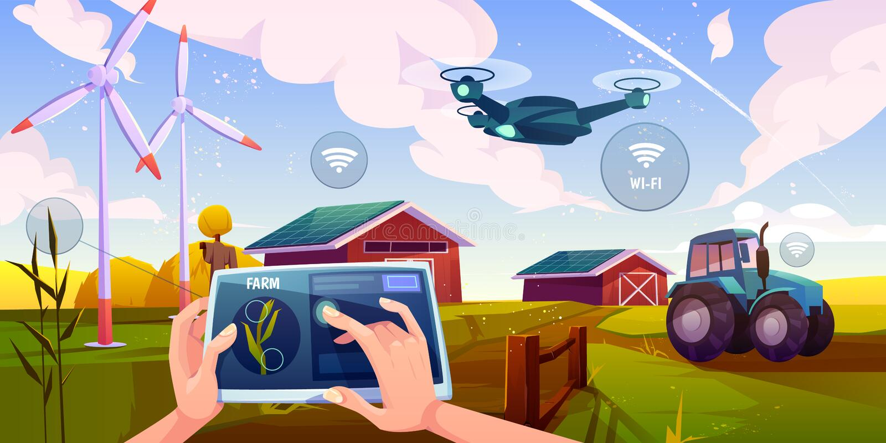 Smart farming, futuristic technologies in farm royalty free illustration