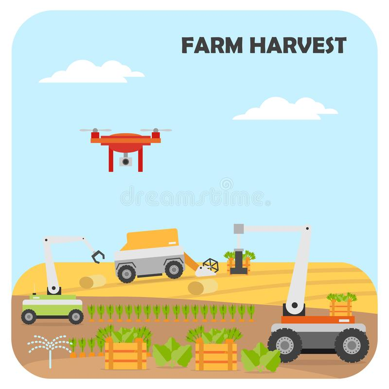 Smart farming harvest. Agricultural automation and robotics stock illustration