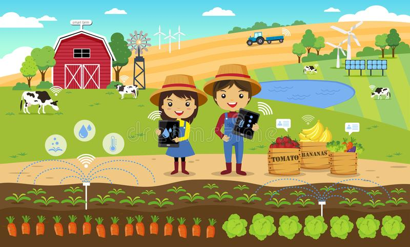 Smart farming and internet of thing concept stock illustration