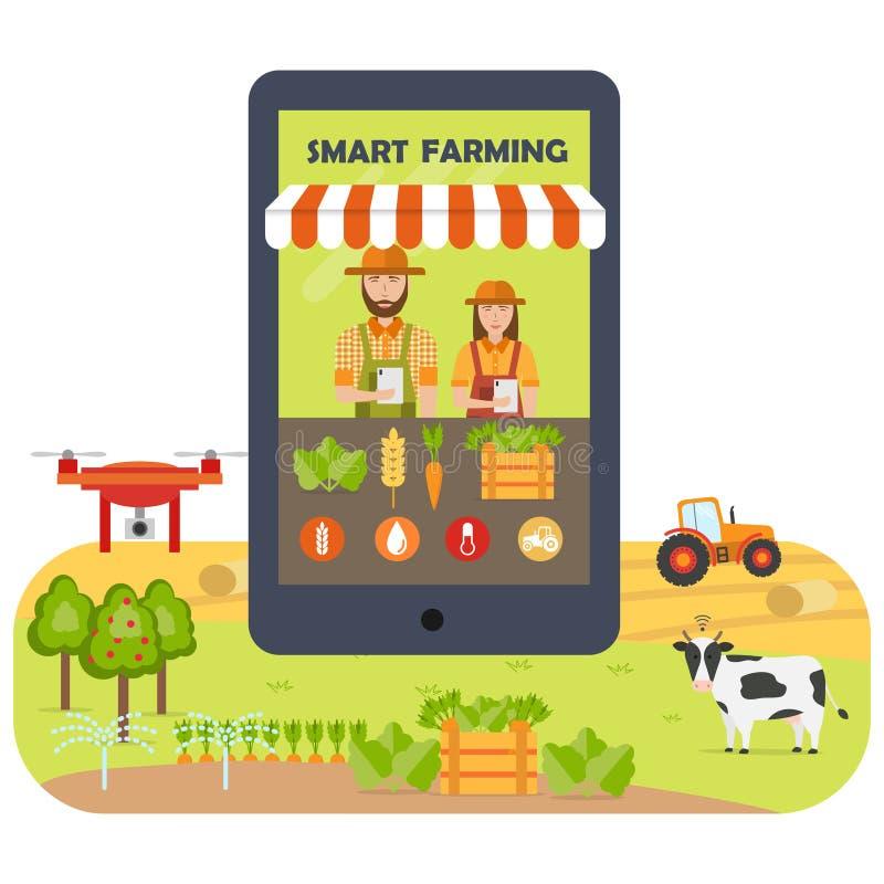 Smart farming mobile application flat infographics royalty free illustration