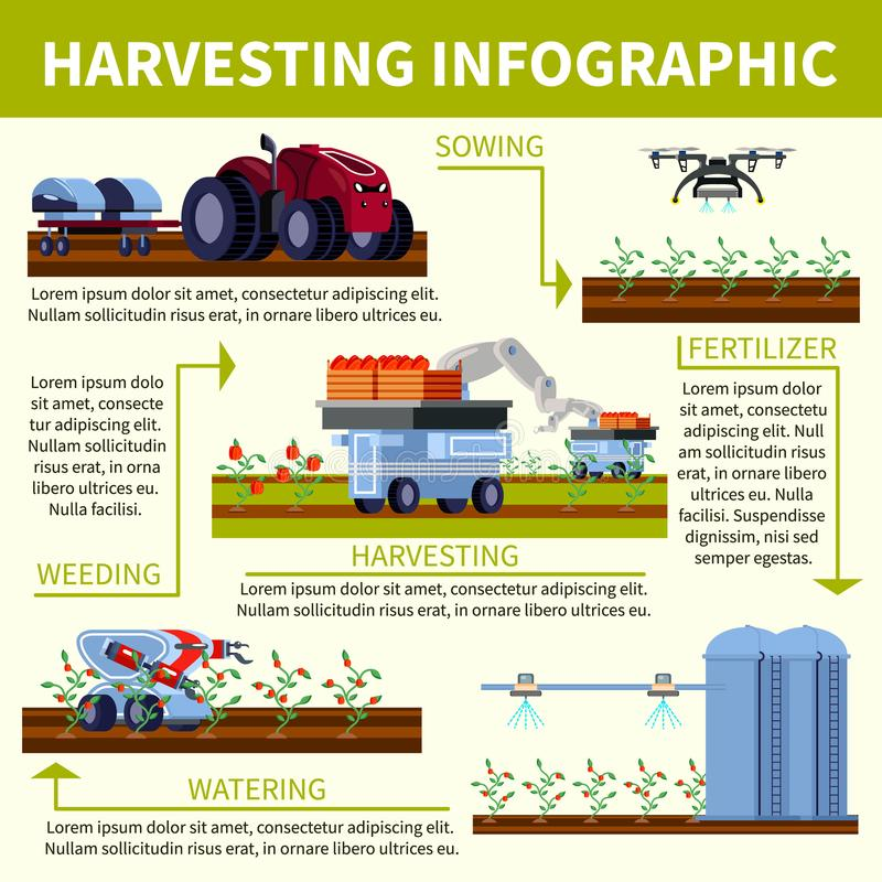 Smart Farming Orthogonal Flat Flowchart. With product cultivation process, automated agricultural equipment on light background vector illustration stock illustration