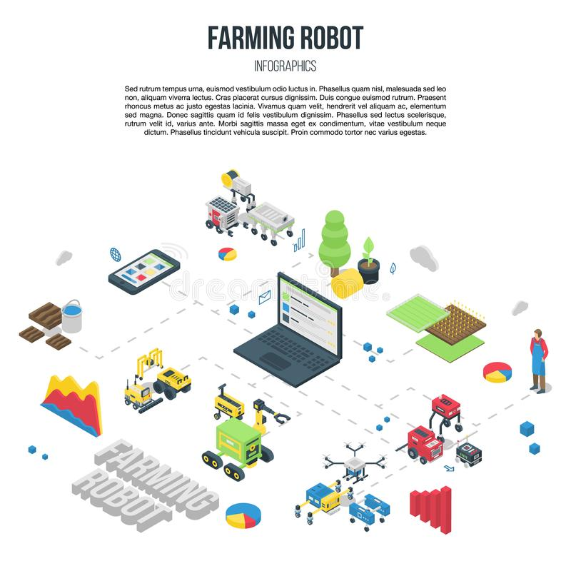 Smart farming robot concept banner, isometric style royalty free illustration
