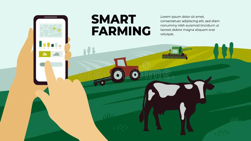 Smart farming template. Innovation technology in agriculture. Illustration of  smart farming with smartphone in hands. Innovation technology for agricultural royalty free illustration