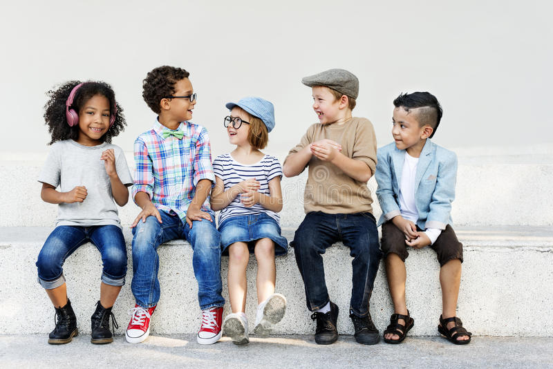 Smart Fashionable Cheerful Children Concept royalty free stock photo