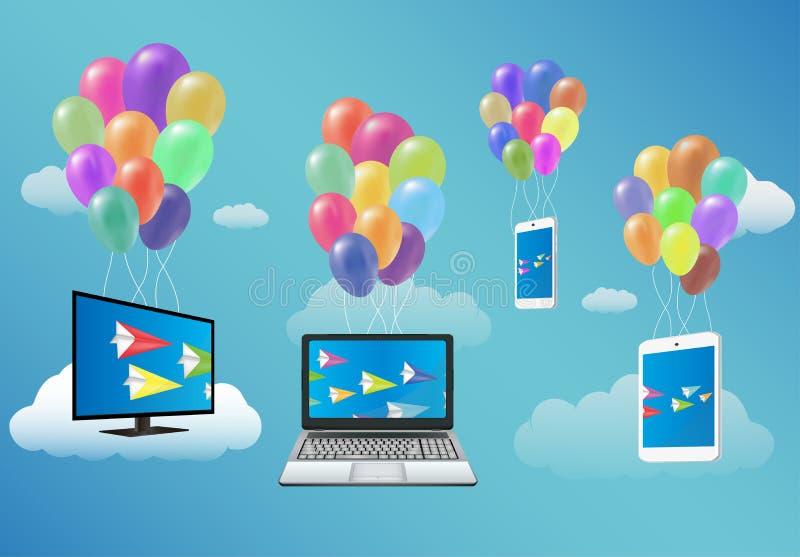 Smart Fernsehen, Laptop, Smartphone und Tablet, das mit fantastischem Ballon schwimmt lizenzfreie abbildung