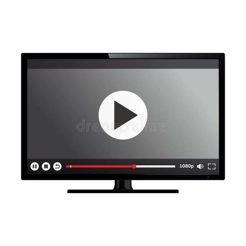 Smart Fernsehen mit Video-Player auf Schirm stock abbildung