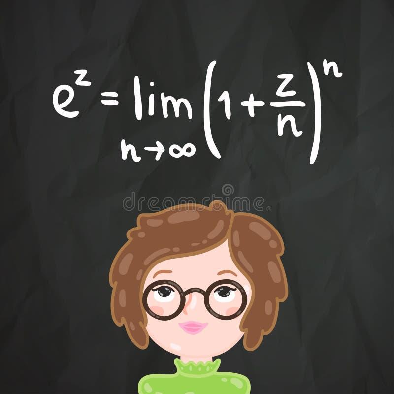 Smart flicka för gullig tecknad film och matematikformel vektor illustrationer
