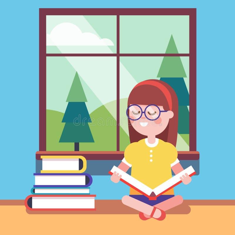 Smart flicka i exponeringsglas som läser en stor bok royaltyfri illustrationer