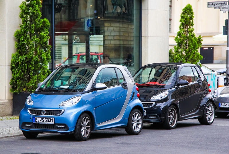 Smart Fortwo. BERLIN, GERMANY - SEPTEMBER 12, 2013: Motor cars Smart Fortwo at the city street royalty free stock images