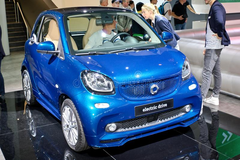 Smart Fortwo Electric Drive. Frankfurt-September 20: Smart Fortwo Electric Drive at the Frankfurt International Motor Show on September 20, 2017 in Frankfurt royalty free stock image