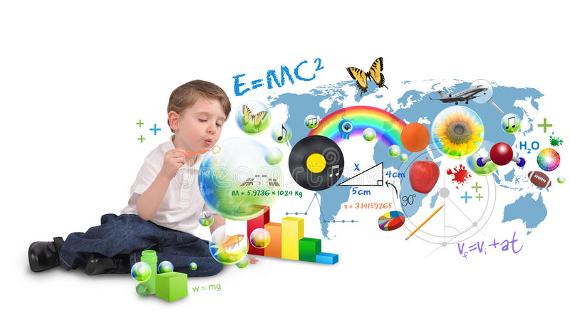 Smart Genius Boy Blowing Scinec and Art Bubbles stock photo