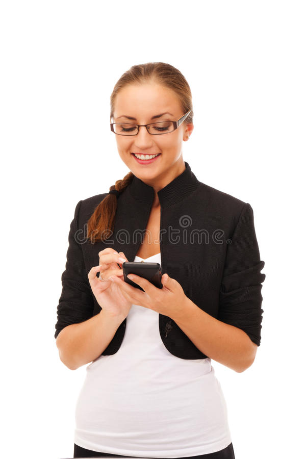 Smart girl. Girl with smartphone on isolated white background stock image