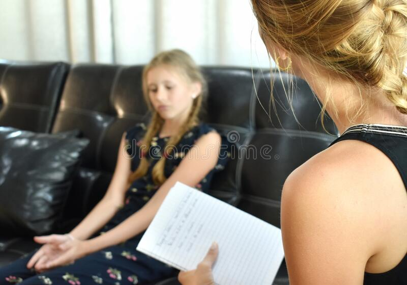 Smart girl. Child Prodigy. Family child psychologist. stock photo