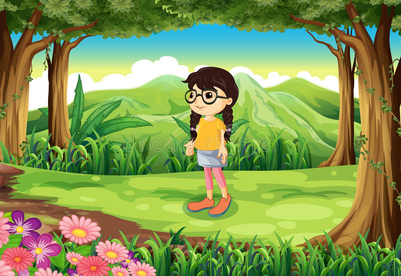 A smart girl at the jungle royalty free illustration