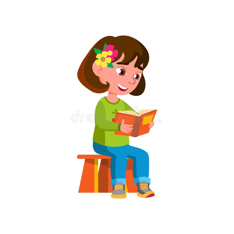 Free Smart Girl Kid Reading Abc Book In Kindergarten Cartoon Vector Stock Photos - 220928493