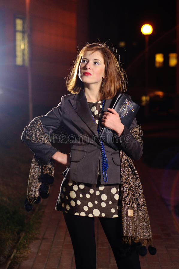 Download Smart girl by night stock photo. Image of walks, small - 22644286