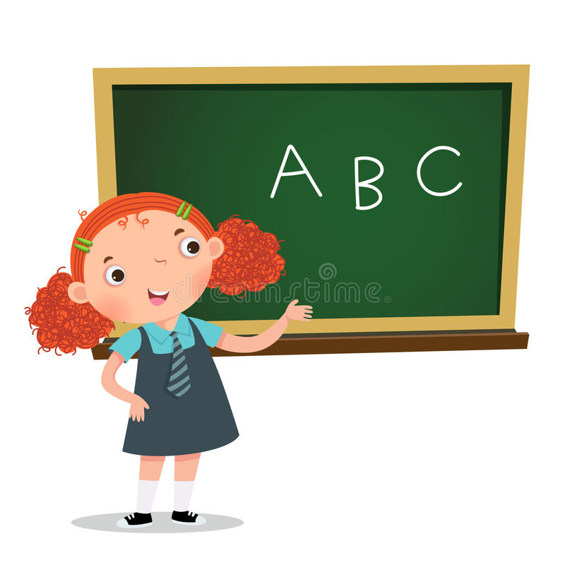 Smart girl presenting something in front of blackboard royalty free illustration