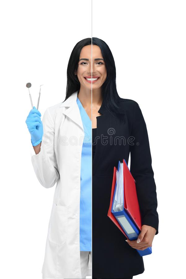 Smart girl in two occupations of dentist and businesswoman. royalty free stock images