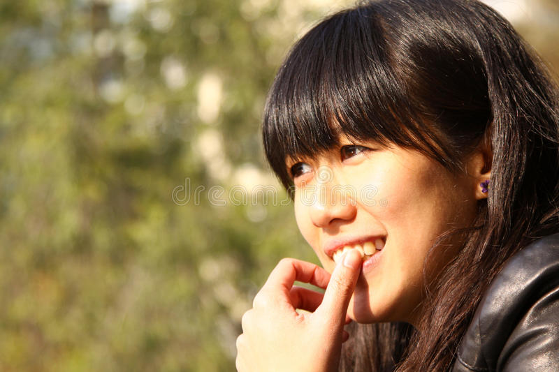 Download Smart girl who is thinking stock photo. Image of learn - 17759200