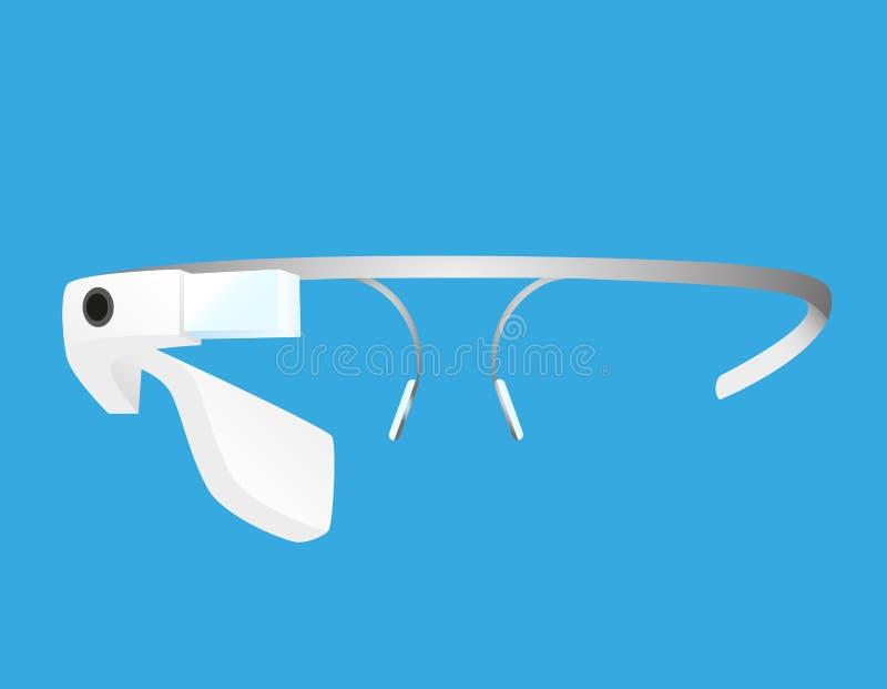 Smart glasses. Smart Google glass technologies on the blue background