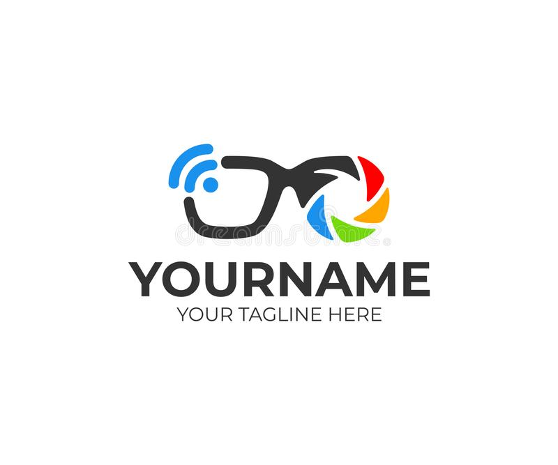 Smart glasses with lens and shutter, wi-fi and bluetooth, logo design. Technology, camera, video and accessories, vector design royalty free illustration