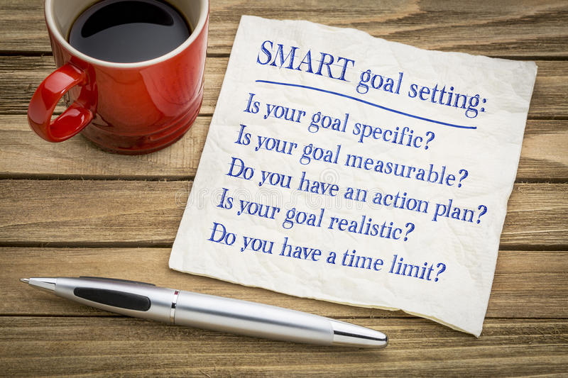 SMART goal setting - napkin concept. Tips and questions on SMART goal setting - handwriting on a napkin with a cup of coffee stock images