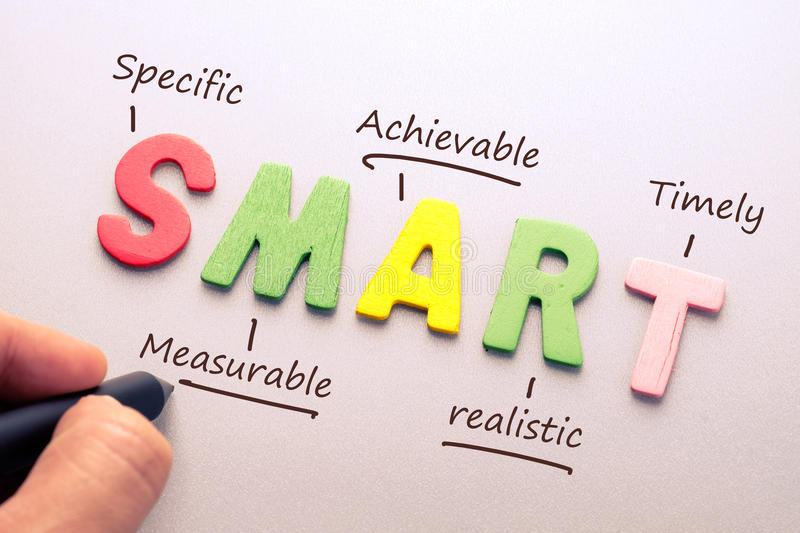 Smart Goal setting. Wood letter of Smart word with hand writing definition for smart goal setting concept stock photo