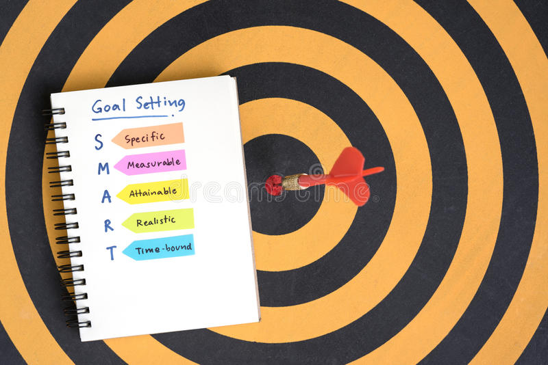 Smart goals setting and hand written acronyms on the notebook. Smart goals setting and hand written acronyms definition on the notebook with red arrow dart royalty free stock image
