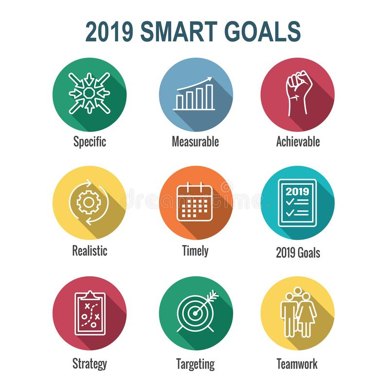 2019 SMART Goals Vector graphic w various Smart goal keywords. 2019 SMART Goals Vector graphic - various Smart goal keywords stock illustration