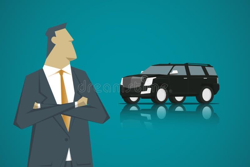 Smart grabb och Smart bil, stil för lägenhet för tecknad filmteckendesign arkivfoton