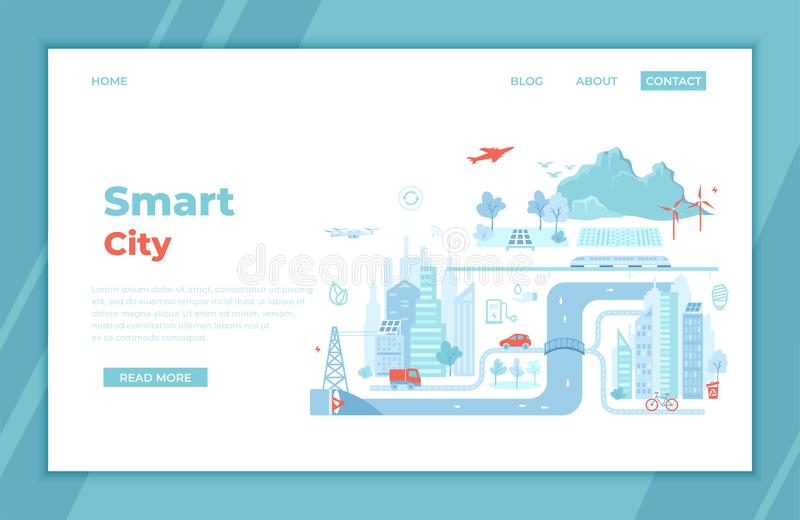 Smart and Green City. Infographic elements. Infrastructure, transportation, services, communication, energy, power. landing page. Template or banner. Technology stock illustration