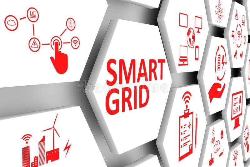 SMART GRID concept cell background stock illustration
