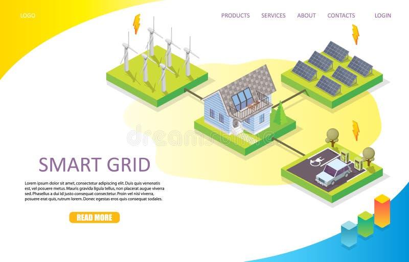 Smart grid landing page website vector template vector illustration