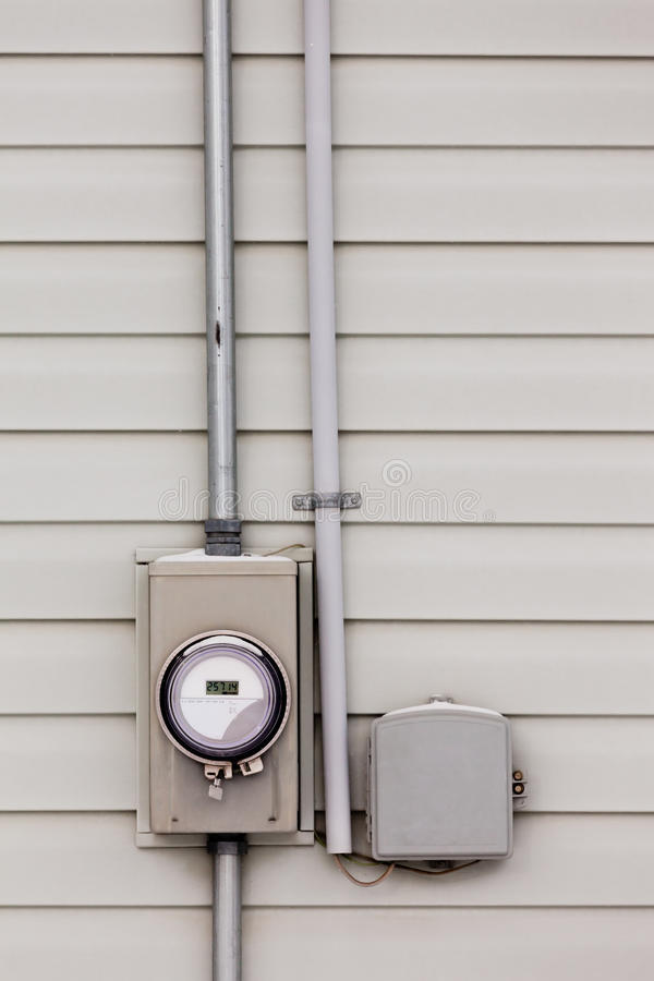 Free Smart Grid Power Supply Meter And Phone Line Drop Royalty Free Stock Photo - 30514685