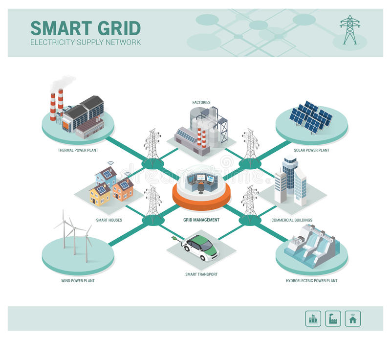 Smart grid and power supply stock illustration