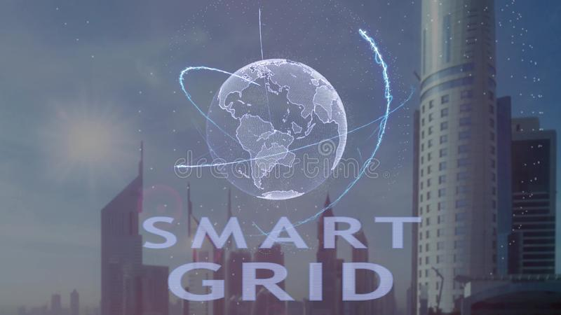 Smart Grid text with 3d hologram of the planet Earth against the backdrop of the modern metropolis stock illustration